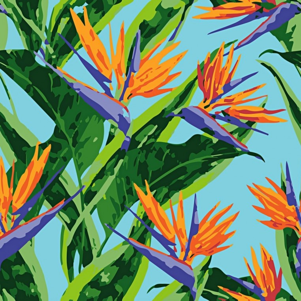 Tkanina w kwiaty strelicje na niebieskim tle