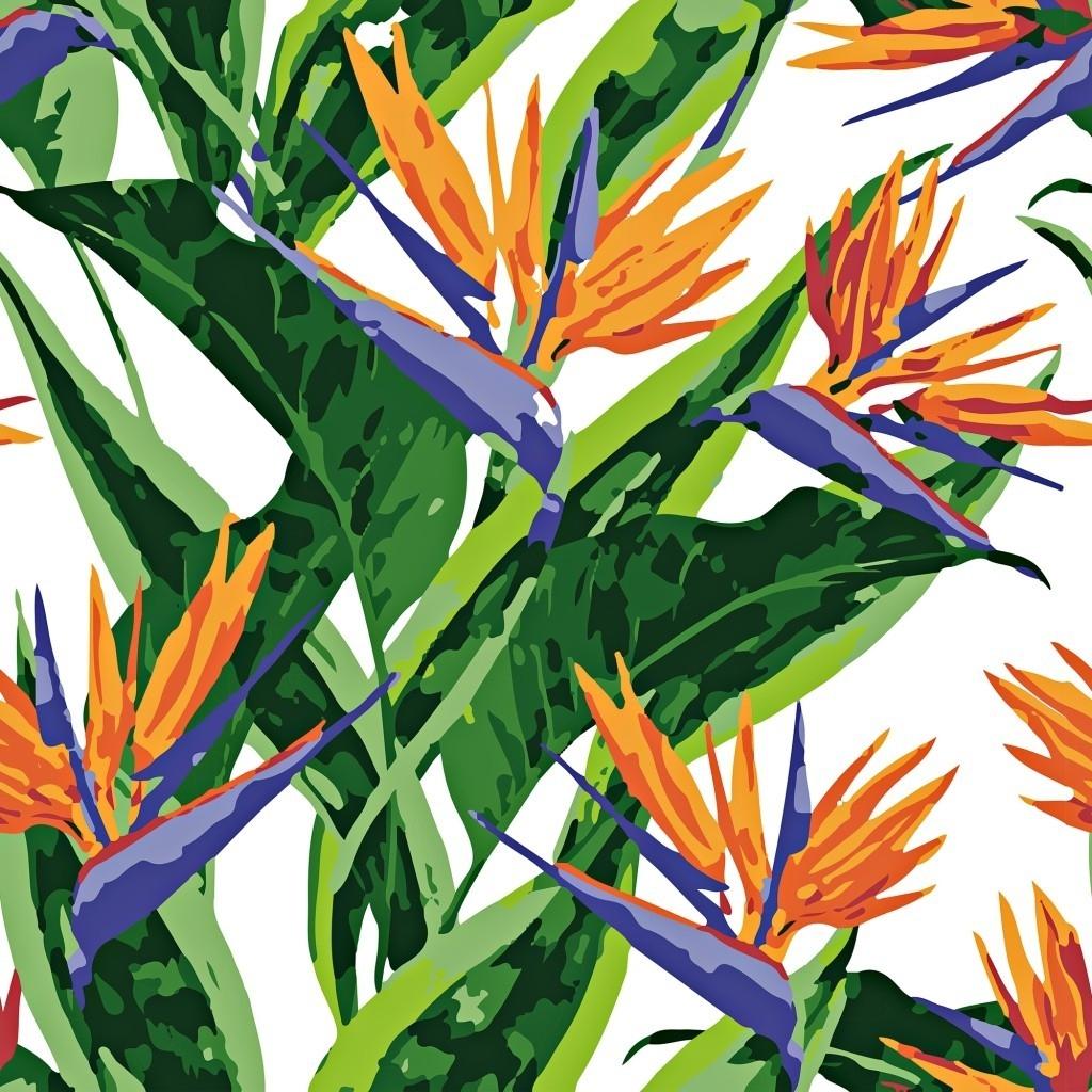 Tkanina w kwiaty strelicje na białym tle
