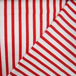 Tkanina w paski czerwono białe