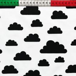 Tkanina w chmurki czarne na białym tle
