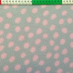 Tkanina Polar różowe grochy na szarym tle