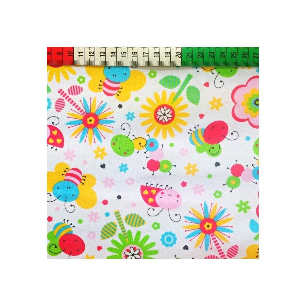 Tkanina w Pszczółki kolorowe na białym tle