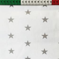 Tkanina w Gwiazdki 20mm szare na białym tle