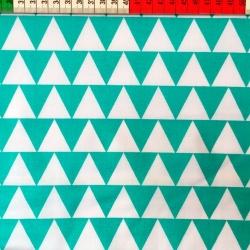 Tkanina w Trójkąty biało turkusowe