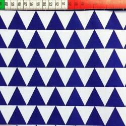 Tkanina w Trójkąty granatowo białe