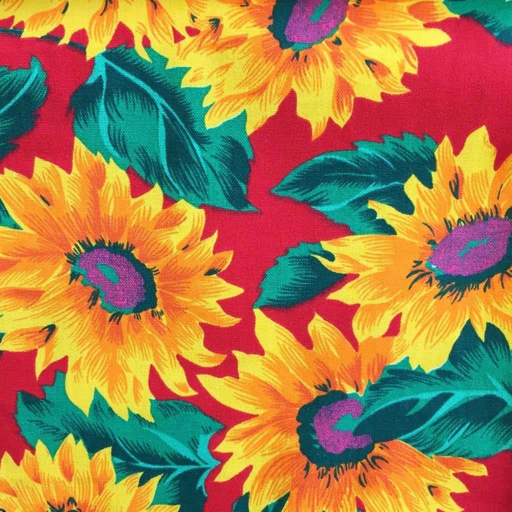 Tkanina leżakowa słoneczniki czerwone tło