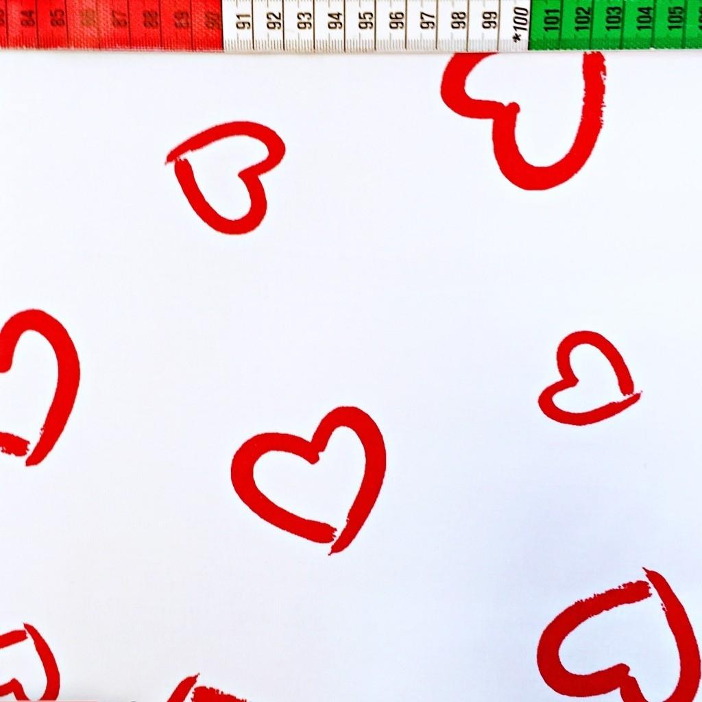 Tkanina w serca kontury czerwone na białym tle