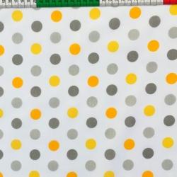 Tkanina w grochy szaro pomarańczowe na białym tle