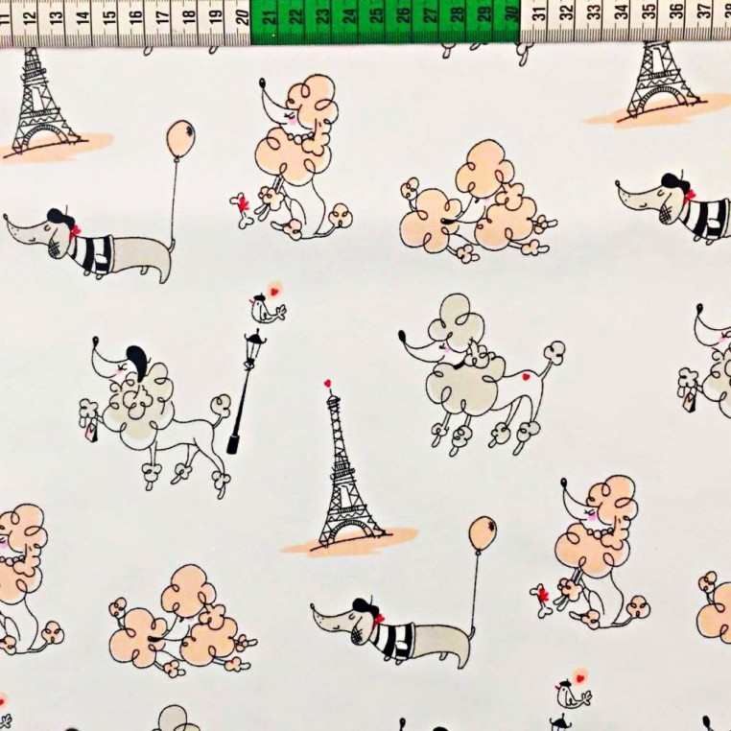 Tkanina Paryż morelowy na białym tle