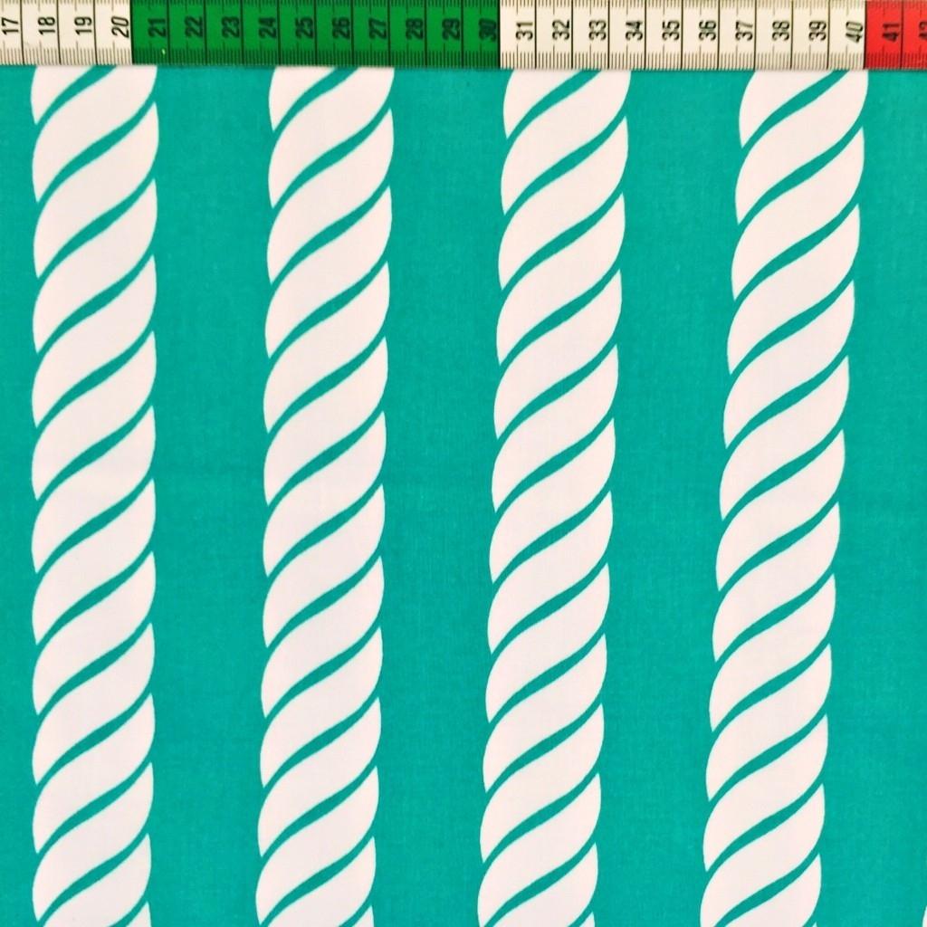 Tkanina w Liny białe na turkusowym tle