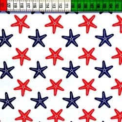 Tkanina w Rozgwiazdy czerwono granatowe na białym tle