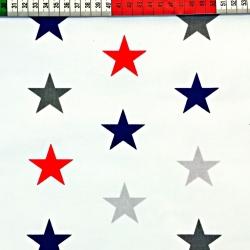 Tkanina w gwiazdki STARSY szaro granatowo czerwone na białym tle