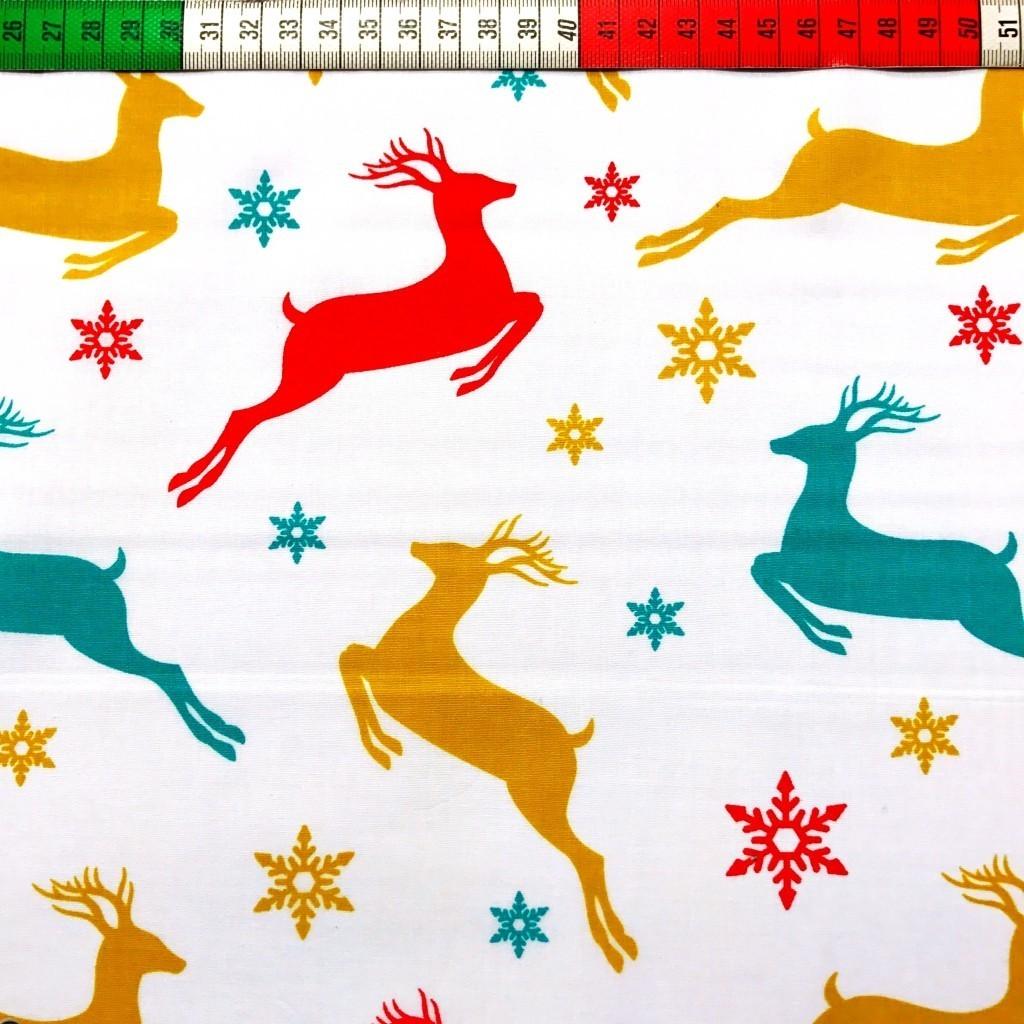 Tkanina wzór świąteczny kolorowe renifery na białym tle