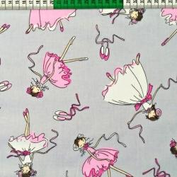 Imagén: Tkanina Flanela baletnice na szarym tle