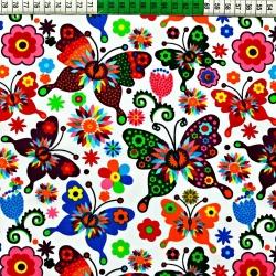 Tkanina w motylki łowickie białe tło