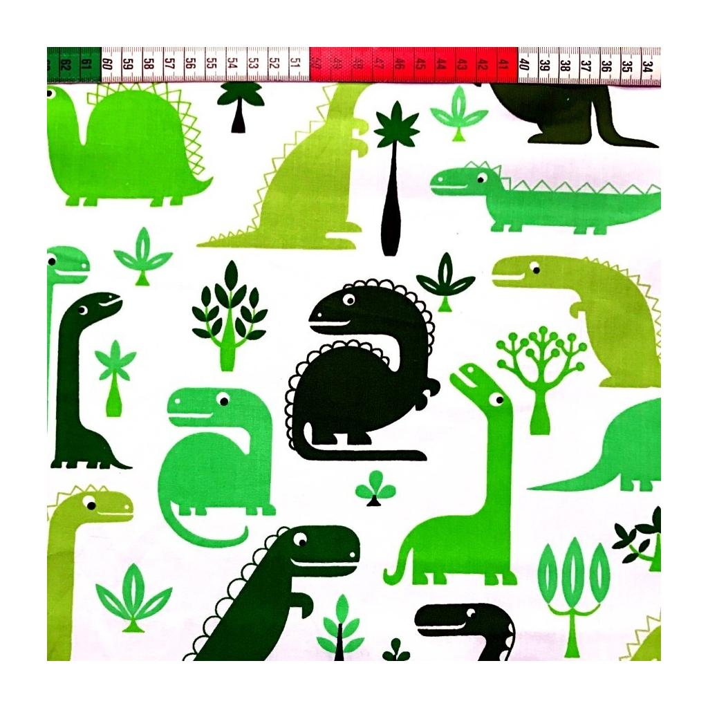 Tkanina w dinozaury zielone na białym tle