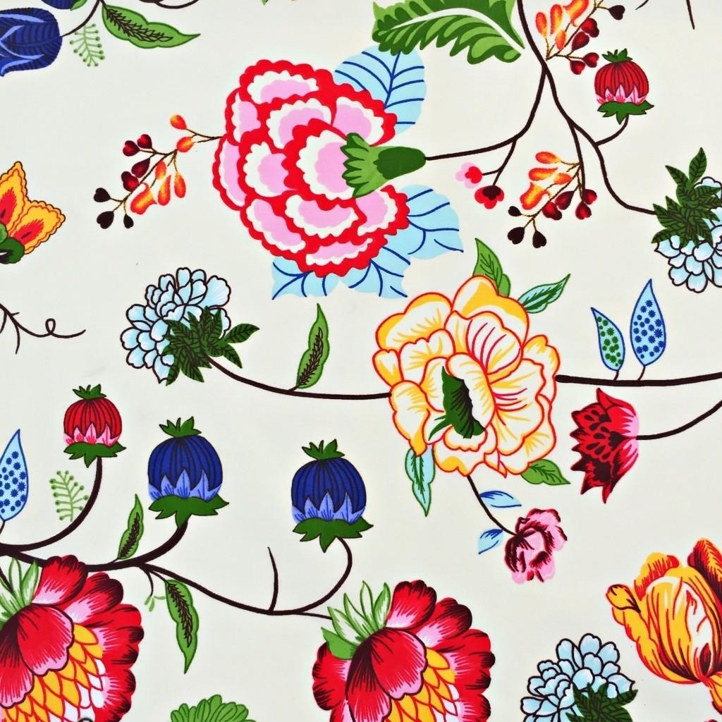Tkanina w pnącza kolorowe na ecrue tle