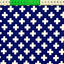 Tkanina w krzyżyki białe na granatowym tle