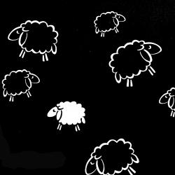 Tkanina w owieczki kontury białe na czarnym tle