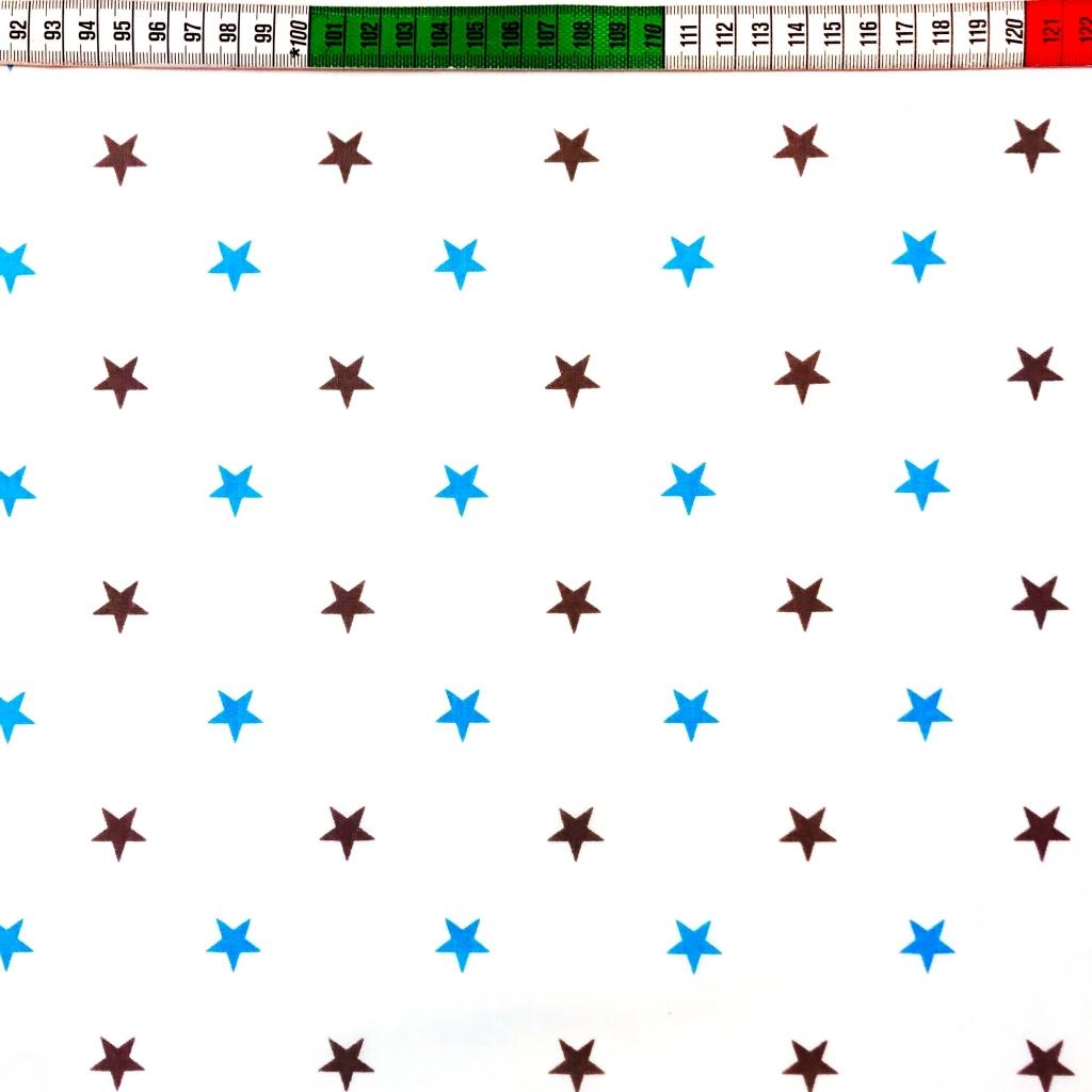 Tkanina w gwiazdki 12mm niebiesko szare na białym tle