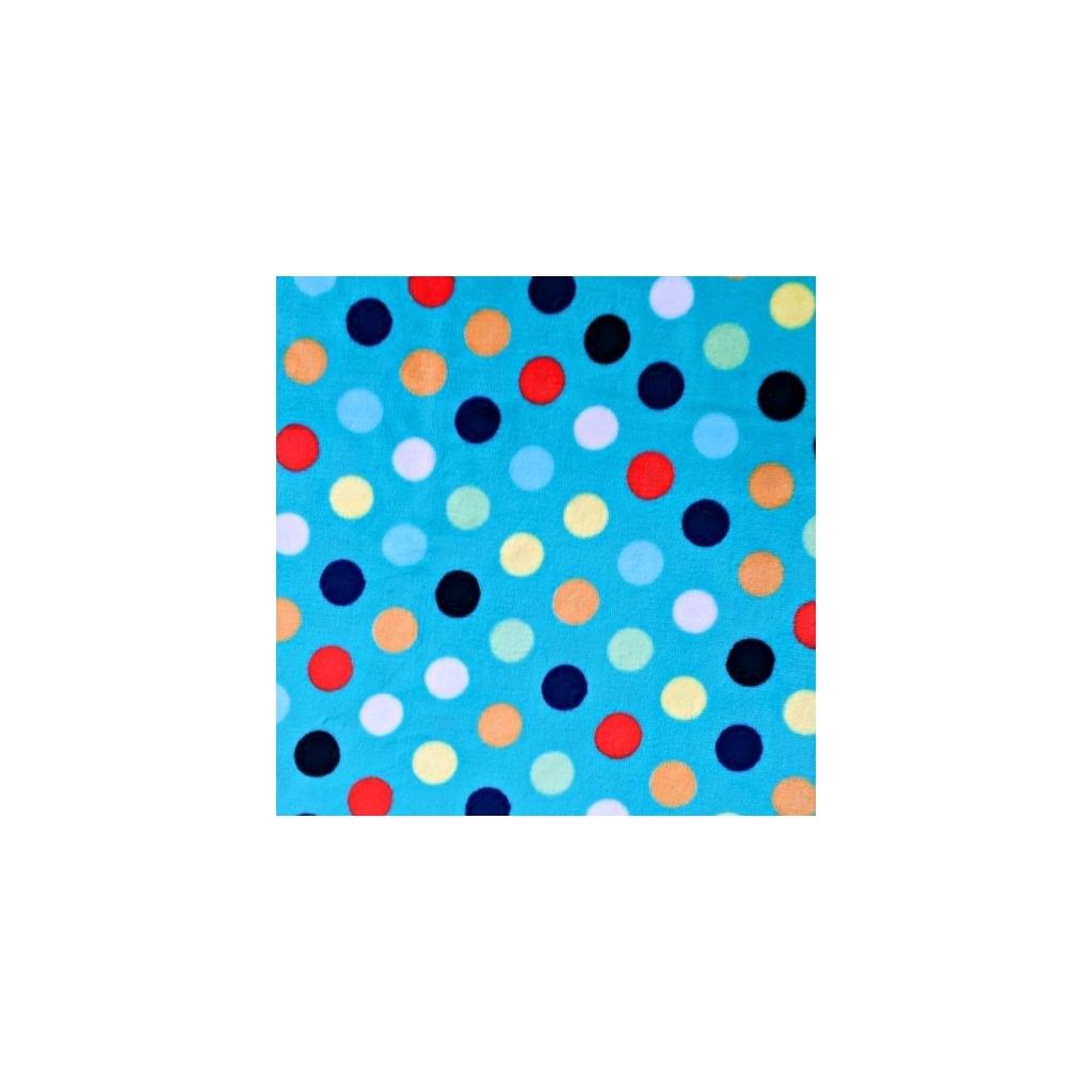 Tkanina Polar plus kropki kolorowe niebieskie tło