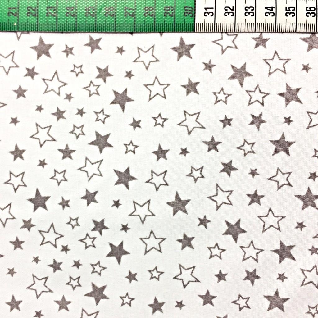 Tkanina w gwiazdki biało szare na białym tle