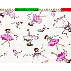 Tkanina w Baletnice różowe na białym tle