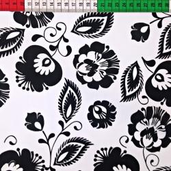 Tkanina wzór łowicki czarny na białym tle