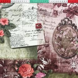 Tkanina listy i kwiaty na vintage tle