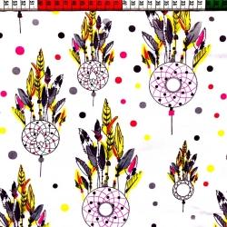 Tkanina w totem indiański żółty białe tło
