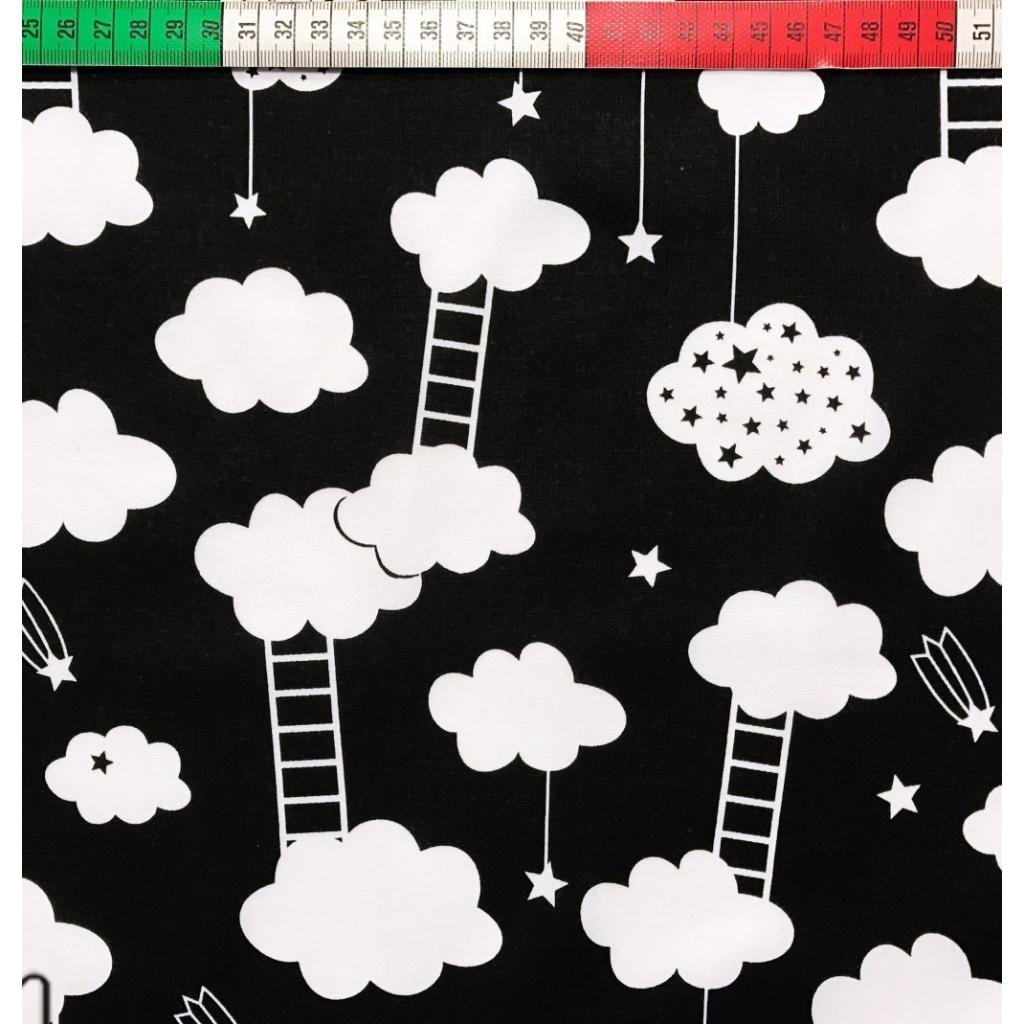 Tkanina w chmurki z drabinkami białe na czarnym tle