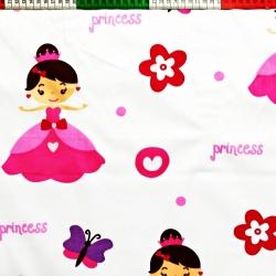 Tkanina w princess różowa na białym tle