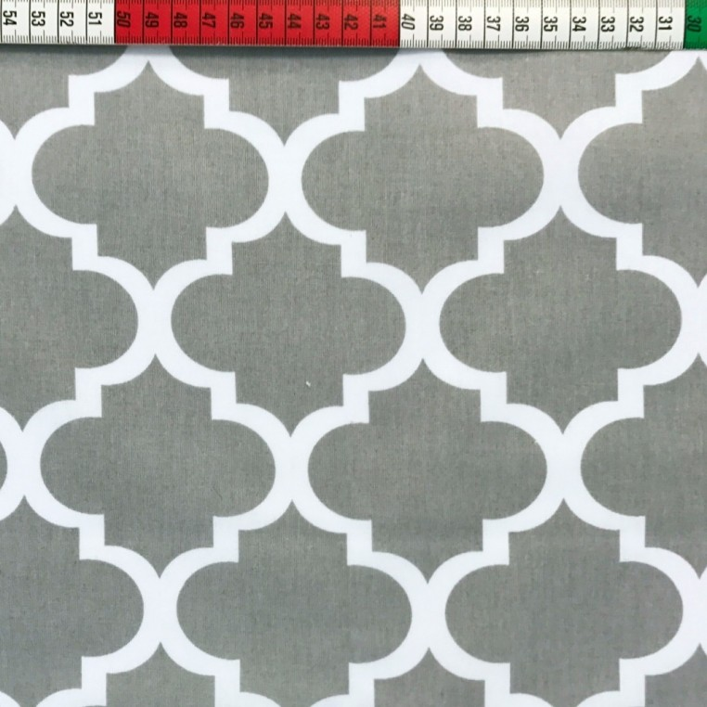 Tkanina wzór Maroko duże szare