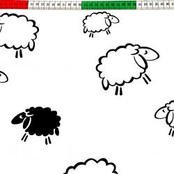 Tkanina w owieczki kontury czarne na białym tle