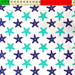 Tkanina w Rozgwiazdy turkusowo granatowe na białym tle