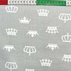 Tkanina w korony białe na szarym tle