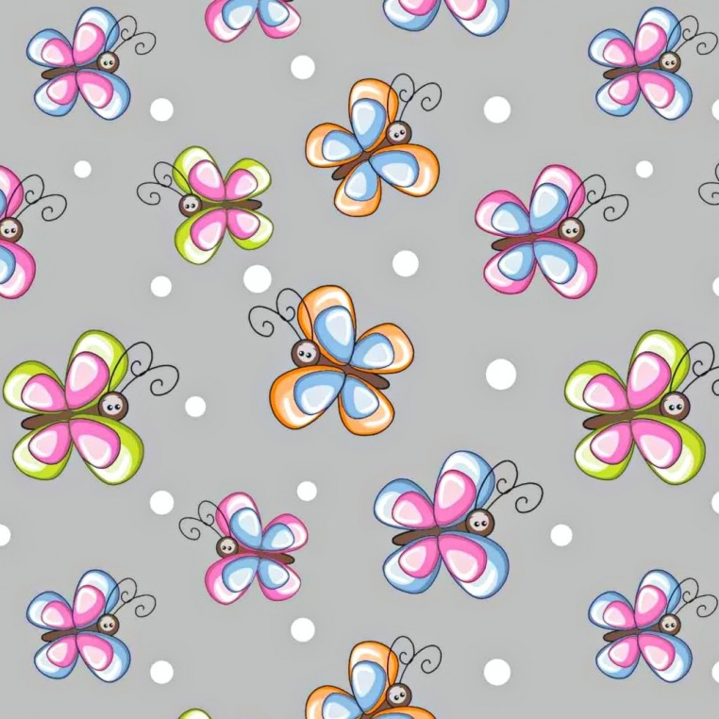 Tkanina w motylki kolorowe z białymi kropeczkami na szarym tle