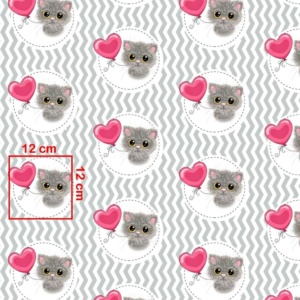 Tkanina w kotki z różowym balonikiem na biało szarym zygzakowym tle