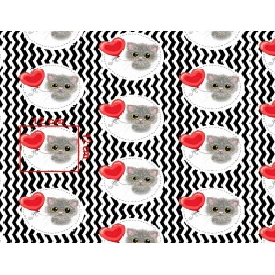 Tkanina w kotki z czerwonym balonikiem na biało czarnym zygzakowym tle