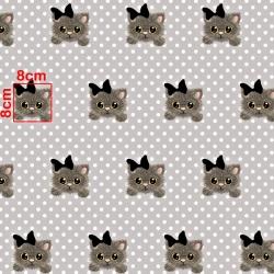 Tkanina w kotki na szarym tle w białe grochy