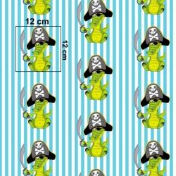 Tkanina w krokodyle piraci na biało turkusowych pasach