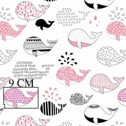 Tkanina w wieloryby wzorzyste czarno różowe na białym tle