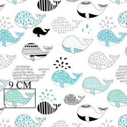 Tkanina w wieloryby wzorzyste czarno turkusowe na białym tle