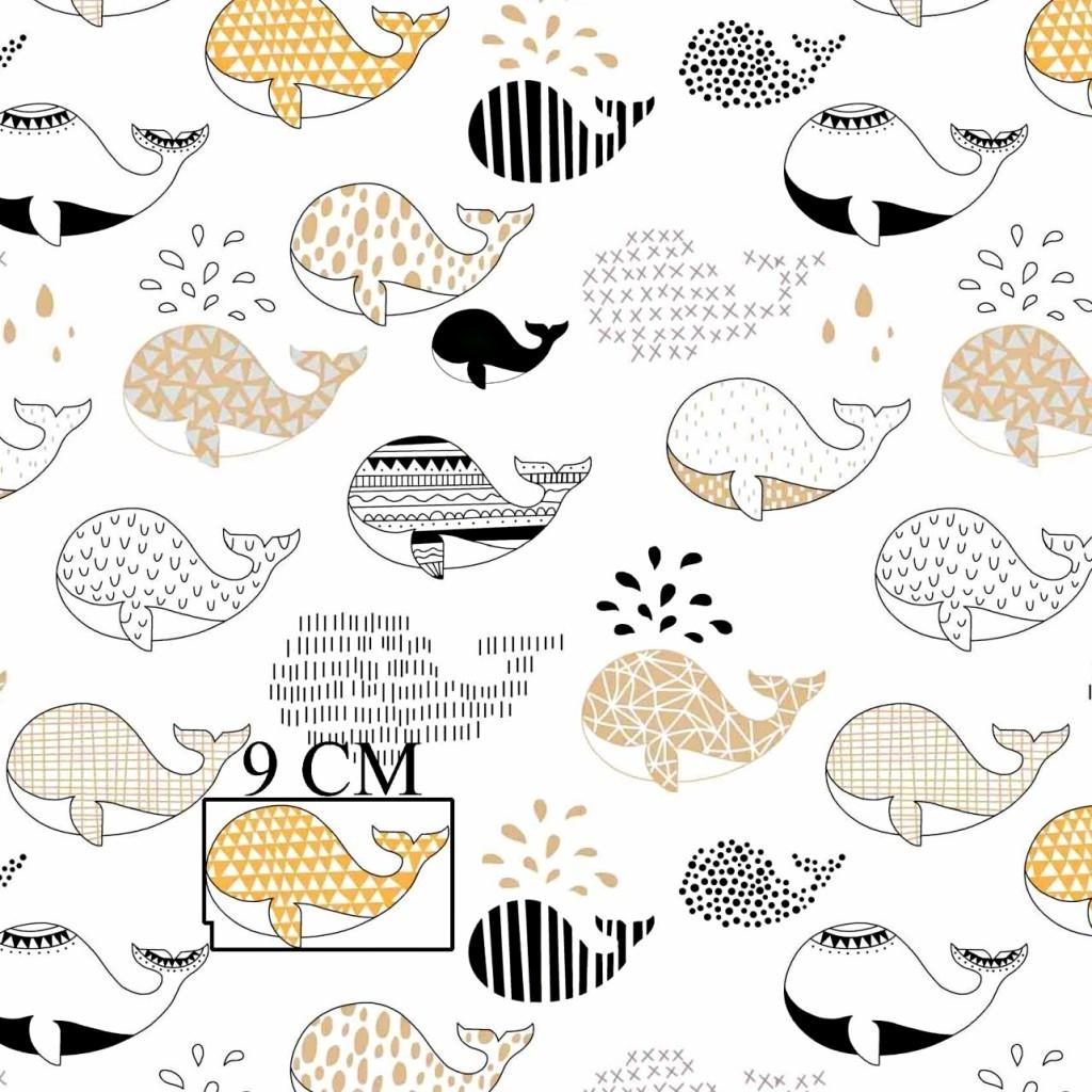 Tkanina w wieloryby wzorzyste czarno beżowe na białym tle