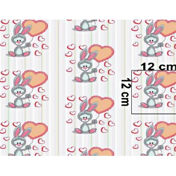 Tkanina królik z różowym balonikiem