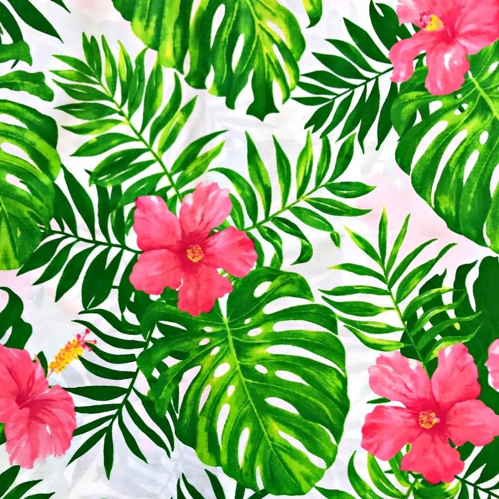Tkanina w hibiskus różowy z zielonymi liśćmi na białym tle