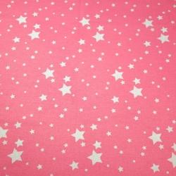 Tkanina galaktyka mała biała na różowym tle