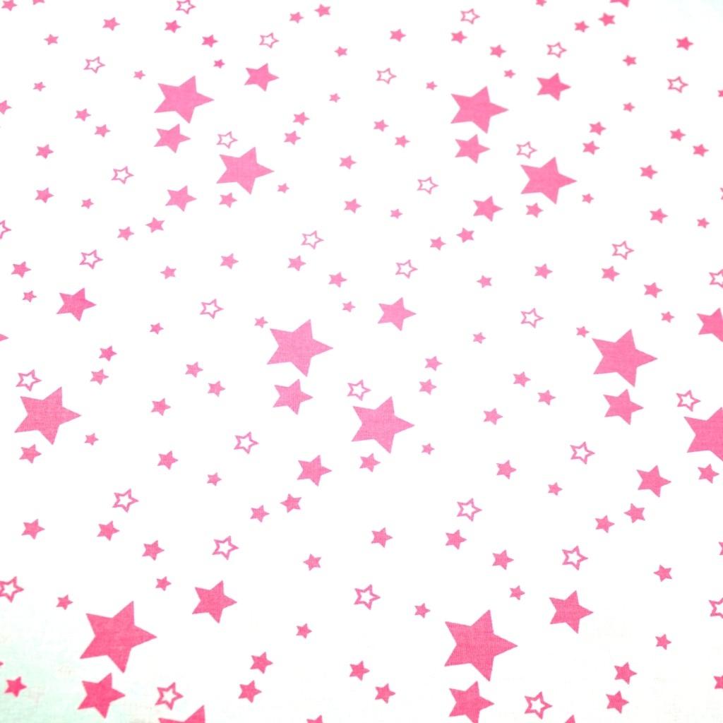 Tkanina galaktyka mała różowa na białym tle