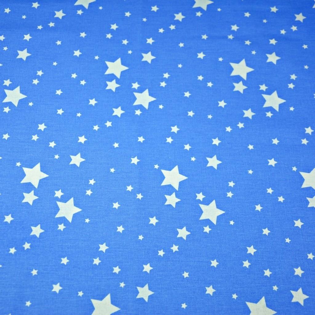 Tkanina galaktyka mała biała na niebieskim tle