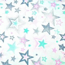 Tkanina w Gwiazdki wzorzyste szaro różowo miętowe na białym tle
